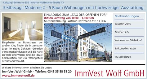 Anzeige Mietwohnung by Immobilien Leipzig Immvest Wolf
