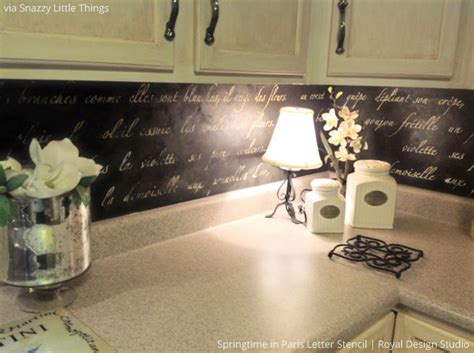 diy stenciled french backsplash snazzy little things hot stencil ideas for kitchens