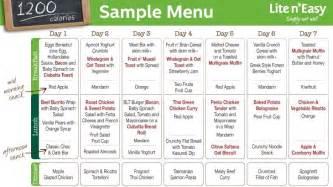 Image sample 1200 calorie menu liteneasy com au
