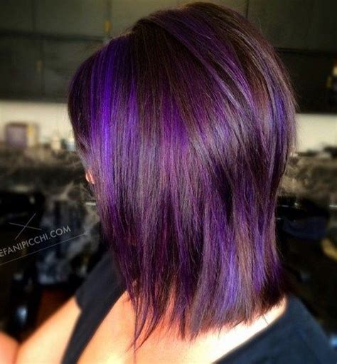 black stacked bob with purple balayage 50 most universal modern shag haircut solutions purple