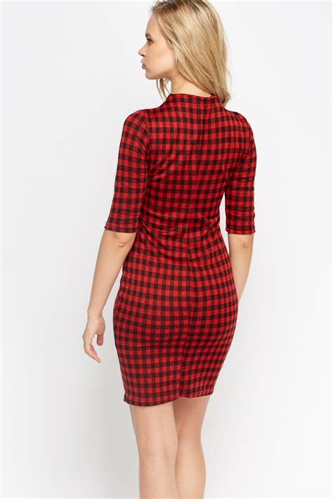 3 4 Sleeve Checked Dress 3 4 sleeve checked bodycon dress just 163 5