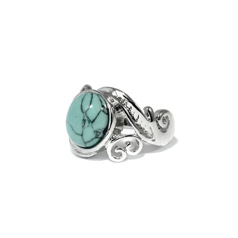bohemian turquoise ornate silver ring
