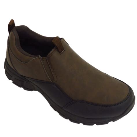 Rugged Slip On Shoes Mens Brown Rugged Outback Slip On Casual Walking Trainers