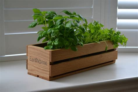 herb planter box home grown oak planter and crate for herbs by earthome