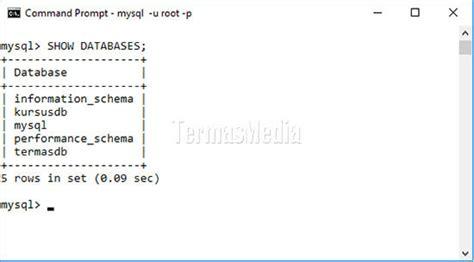 membuat database mysql menggunakan command prompt membuat menilkan menggunakan dan menghapus database