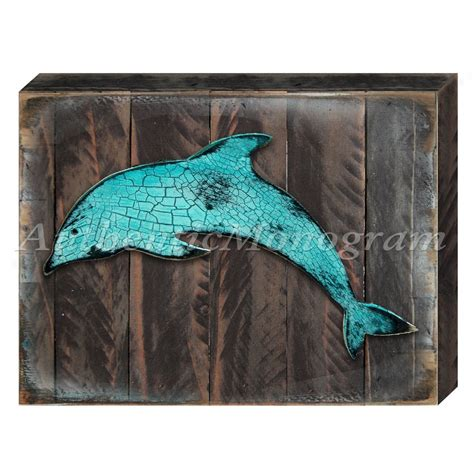 dolphin on reclaimed wooden board wall home decor