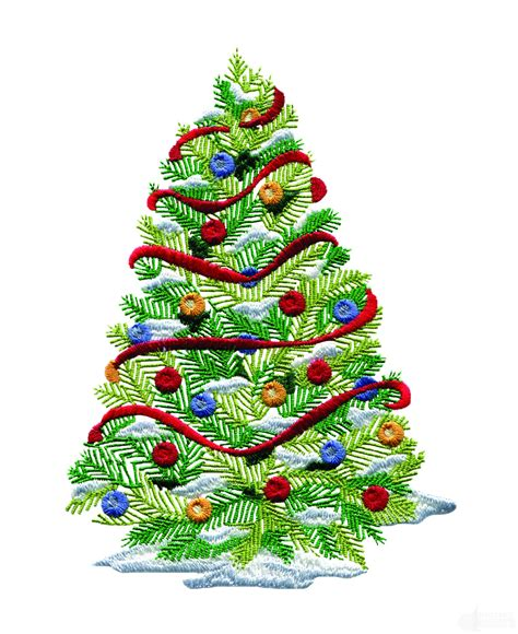 designer weihnachtsbaum decorated tree embroidery design