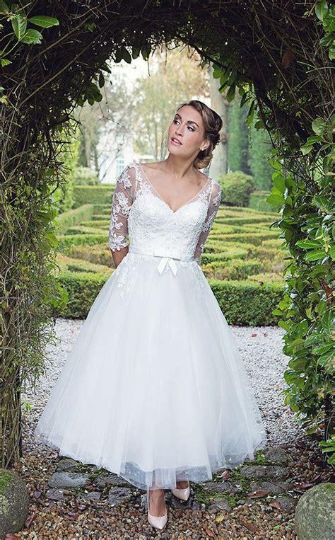 Wedding S by Hn Florence Calf Length Fifties Style Wedding Dress
