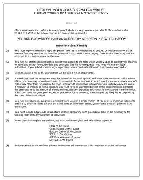 Sle Petition Writ Habeas Corpus Wisconsin Petition For Writ Of Habeas Corpus For Free Formtemplate