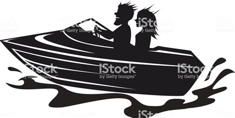 speed boat driving couple driving speed boat silhouette graphic stock vector
