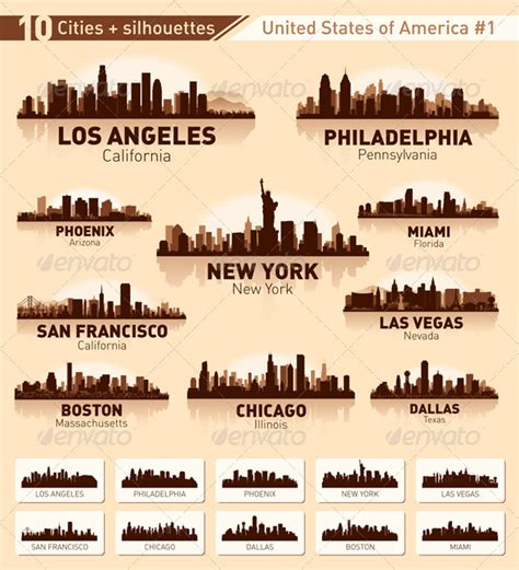 skyline city set 10 cities of usa 1 graphicriver
