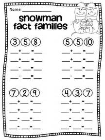 snowman fact families free worksheets 1st amp 2nd grade