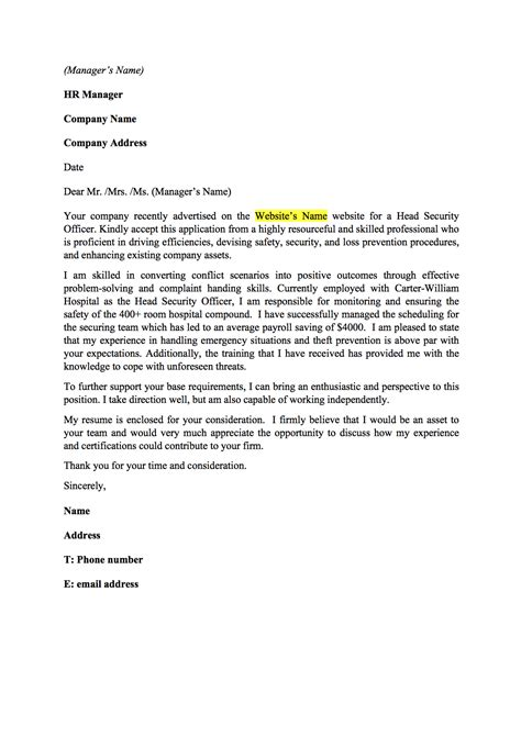 Government Armed Security Guard Cover Letter by Security Guard Cover Letter Resume Genius
