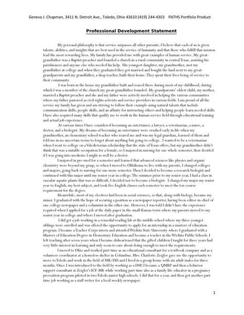 Exles Of Professional Statements by Personal Philosophy Statement Dietetics Penn State Dietetic Internship