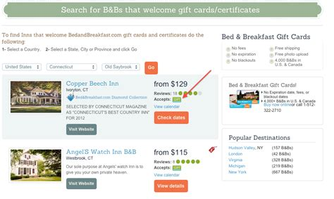 Bed And Breakfast Com Gift Card - 30 off bedandbreakfast com gift cards deals we like