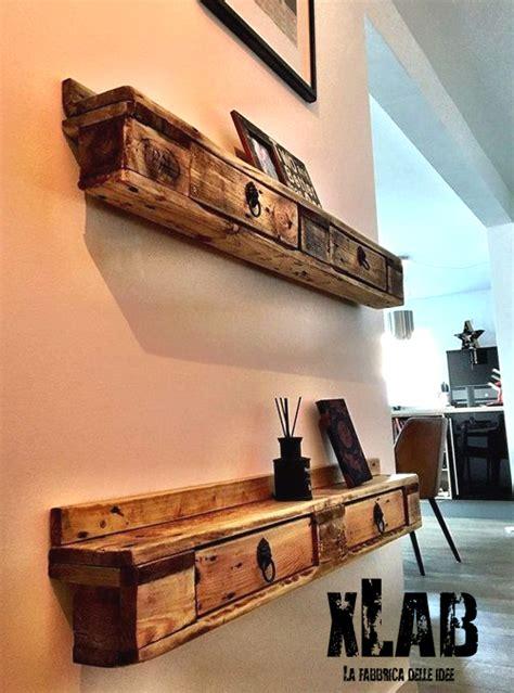 mensole con cassetti mensola da parete pallet con cassetti legno di riuso 120x20x20