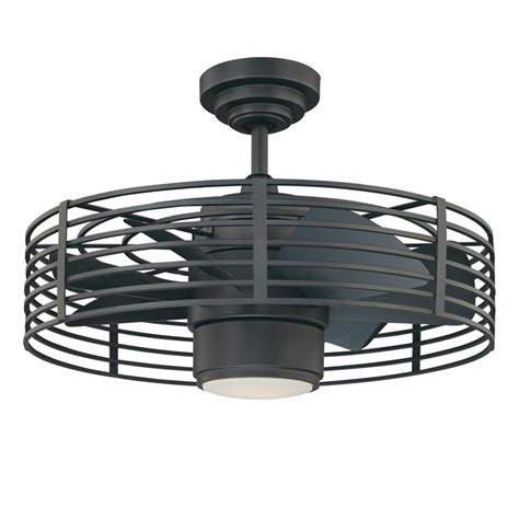 cage enclosed ceiling fans shop kendal lighting enclave 23 in natural iron downrod