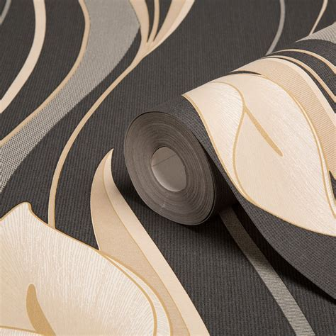 Graham & Brown Superfresco Black & cream Floral Wallpaper