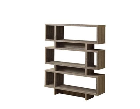 monarch taupe reclaimed look 55 quot h modern bookcase
