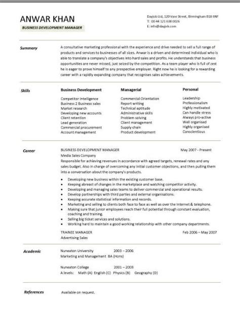 Business Manager Resume Template by Business Development Manager Cv Summary Skills Career Writing Resume Sle Writing Resume
