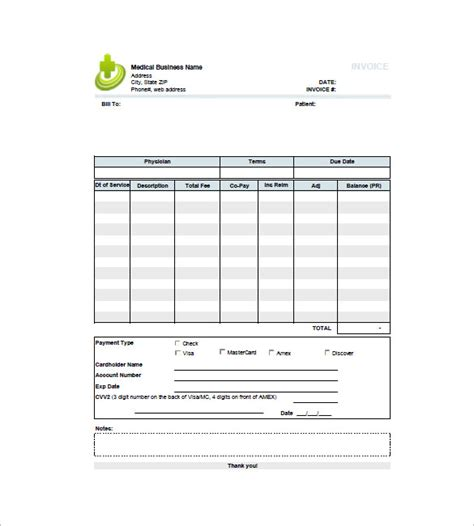 medical invoice templates 13 free sle exle