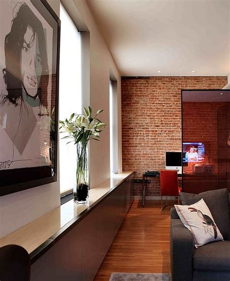 Living Room And Office Space Adding An Exposed Brick Wall To Your Home