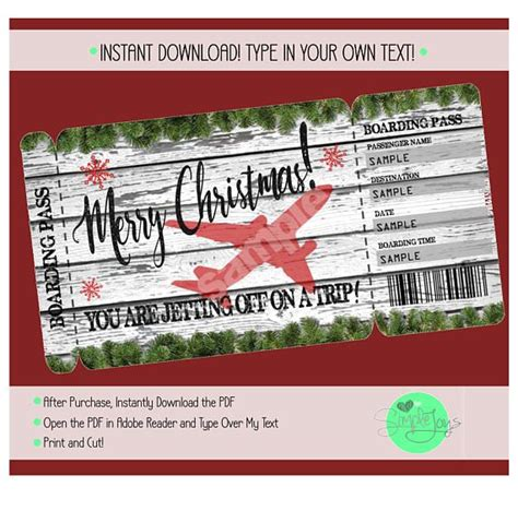printable christmas vacation surprise trip boarding pass