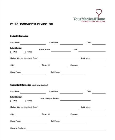 demographic form template blank patient demographic sheet form sketch coloring page