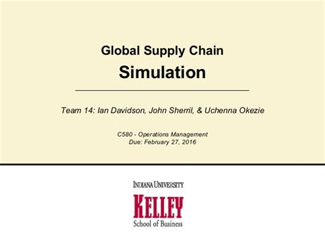 Global Supply Chain Management Mba by Global Supply Simulation Presentation Team 14