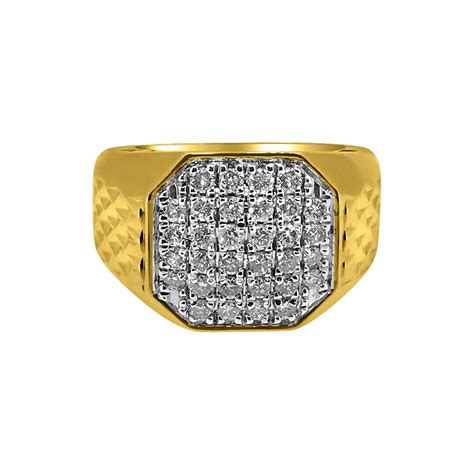 cttw diamond octagon  yellow gold mens ring