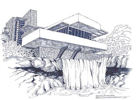 Floor Plan Drawing Apps by Frank Lloyd Wright Falling Water Architecture Drawing By Robert Birkenes