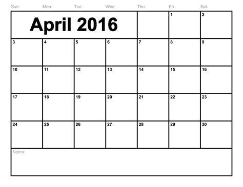 Calendar Monthly Template April 2016 April 2016 Calendar Printable Template 8 Templates