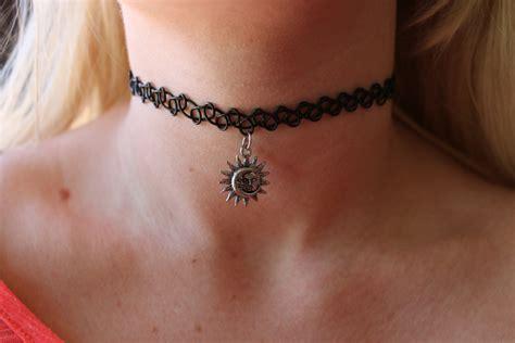 celestial sun moon choker necklace henna stretch