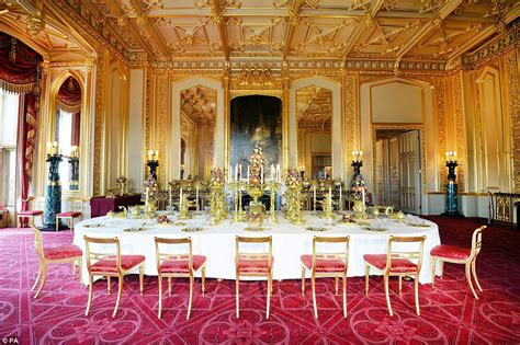 Decorated Christmas Trees by State Apartments At Windsor Castle Are Transformed For