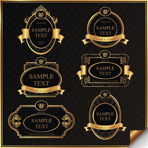 Dark gold frame labels luxury vector set 08   Vector