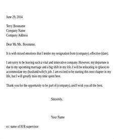 Resignation Letter Sle Relocation by Resignation Letter Due To Relocation Template 5 Free Word Pdf Format Free