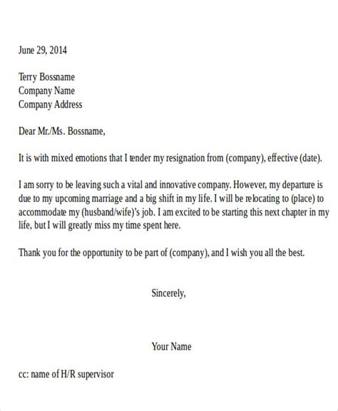 Resignation Letter Exle Relocation Resignation Letter Due To Relocation Template 5 Free Word Pdf Format Free