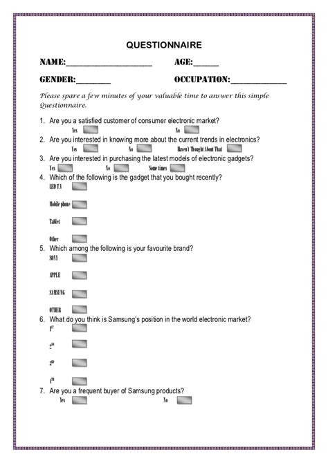 Survey Questionnaire - questionnaire for the survey of electronics market for