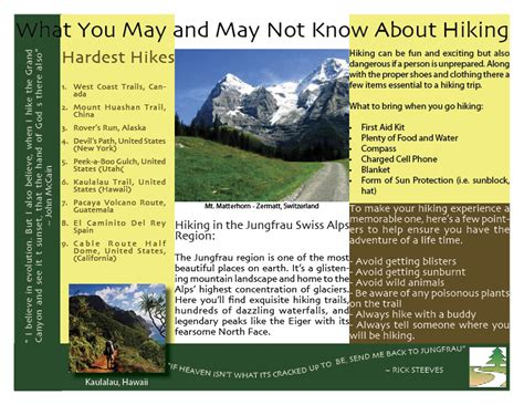 Examples Of Resume References by Hiking Brochure Ashley Costantino