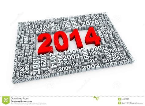 new year by the numbers 3d year 2014 stock photography image 34631692