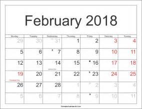 Calendar 2018 With Federal Holidays February 2018 Calendar With Federal Holidays