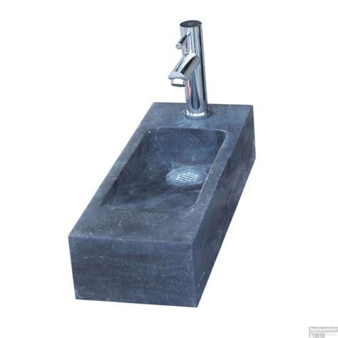 Toilet Fontein Links by Fontein Sanilux Slim Hardsteen 45x17x10cm Rechthoek Met