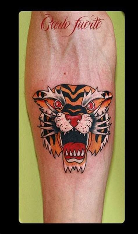 old school tiger tattoo neo traditional school tiger