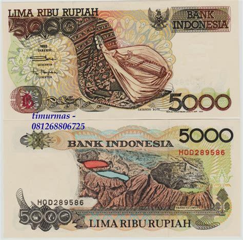 Uang Kuno Paket Koleksi Uang Kertas 1992 jual uang lama kuno 5000 rupiah 1992 sasando timurmas shop