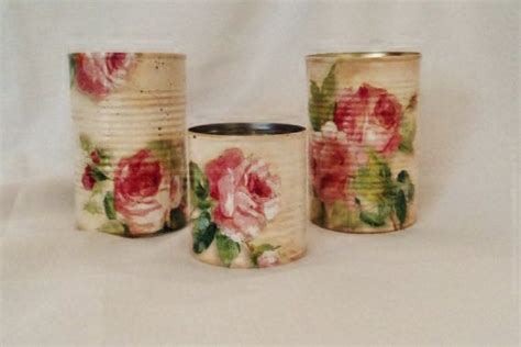 Can You Decoupage On Metal - decoupage tin cans shabby chic roses upcycled recycled