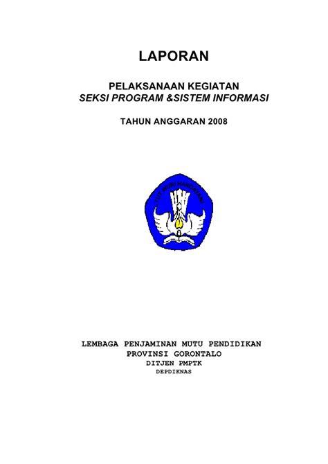 contoh laporan cover laporan kegiatan akhir tahun 2008