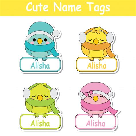 name tag design cartoon character vector cartoon illustration with colorful cute baby birds