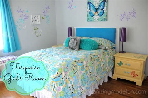 turquoise girls bedroom turquoise girls room final reveal organizing made fun