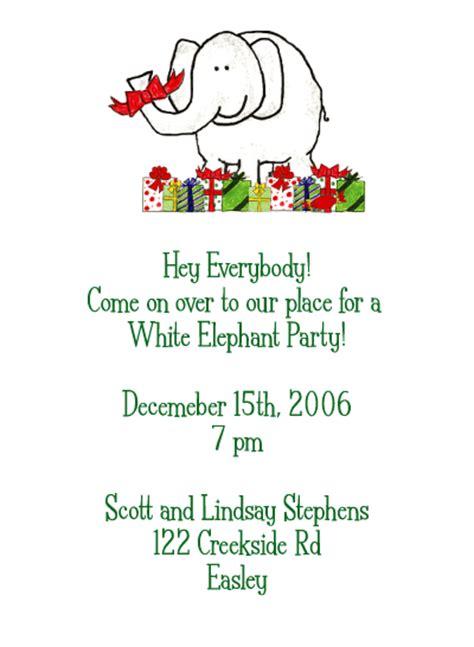 White Elephant Custom Holiday Party Invitation White Elephant Invitations Templates