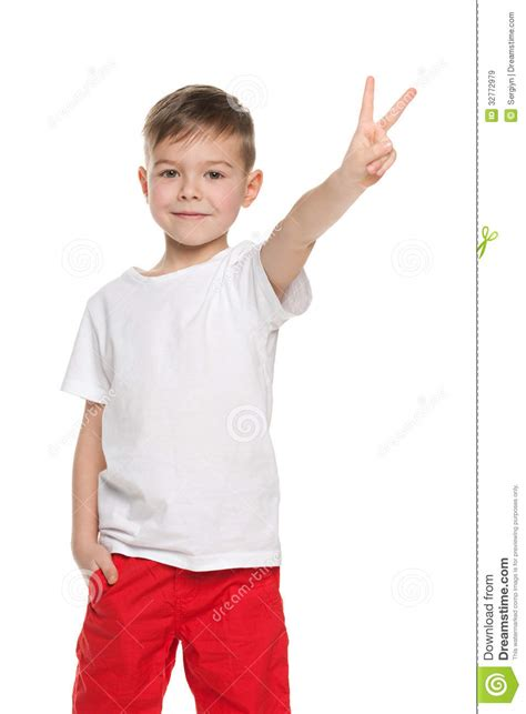 cute young boy royalty free stock photography image cute young boy shows victory sign royalty free stock